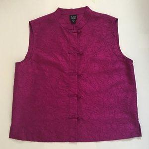 Eileen Fisher Sleeveless Vest Silk Mandarin Collar